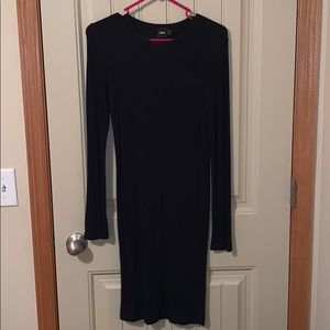 Ribbed Black Long Sleeve Dress